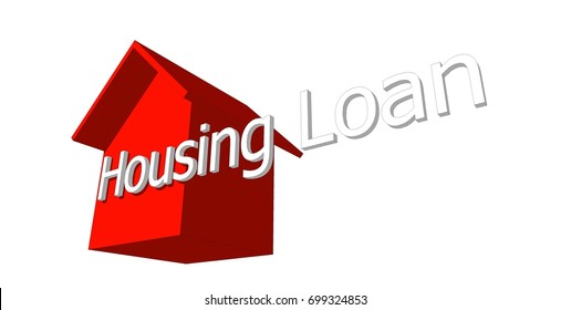 HOUSING LOAN conceptual words with red house model on white background