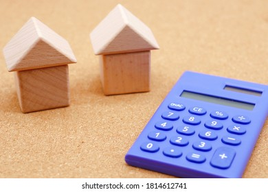 Housing loan. Houses made of building blocks.