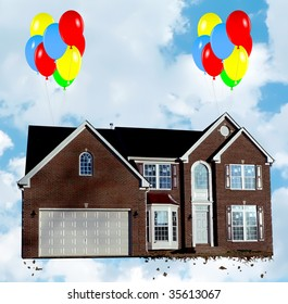 Housing market revival concept photo showing balloons lifting a home up from it's foundation in preparation of its open house. The house photo has been altered from its original appearance!