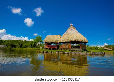Housing in the Peruvian Amazon. Lake The Milagro. July 2016.Tingo Maria, Perú.