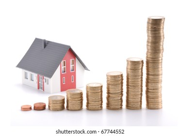 Housing prices going up concept. If you flip horizontal, housing prices goes down.