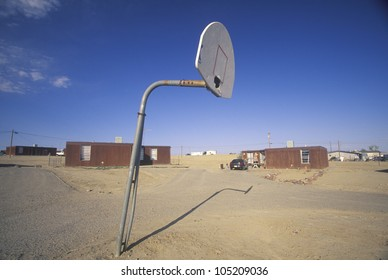 Housing project with basketball court on Navajo Indian Reservation in Shiprock, NM