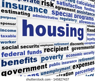 Housing social issue creative design. Government support word clouds creative poster