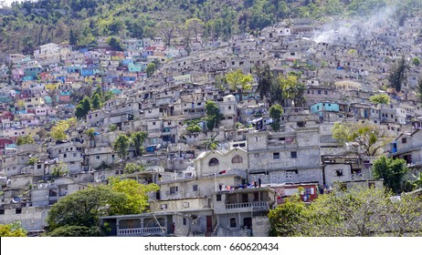 Housing stacked up a hillside in Port-Au-Prince, Haiti