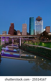 Houston Bayou and Downtown at Night Fall