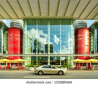 HOUSTON - CIRCA OCTOBER 2018: The George R. Brown Convention Center in downtown Houston, Texas hosts a wide variety of conferences and conventions.  - Image