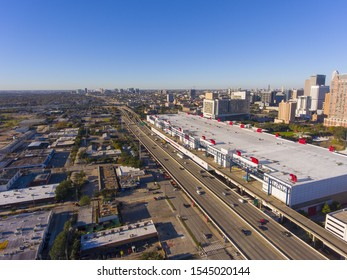 Houston city aerial view including George Brown Convention Center next to Interstate Highway 69 in downtown Houston, Texas, USA.