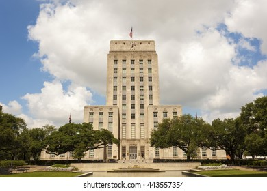 Houston City Hall building with fountain and flag. Texas, United States