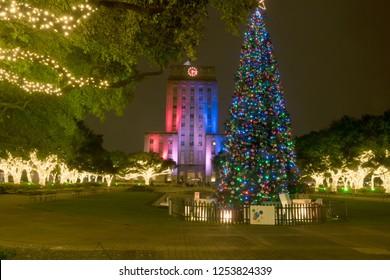 Houston City Hall and christmas tree.  Christmas decoration. Downtown Houston,  Center, Texas, USA