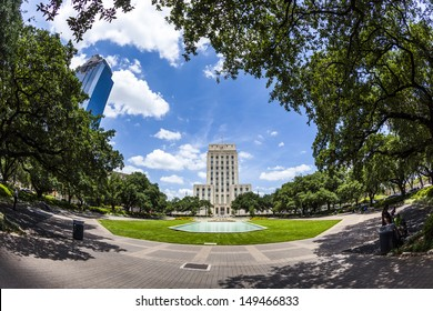 Houston City Hall with Fountain and Flag