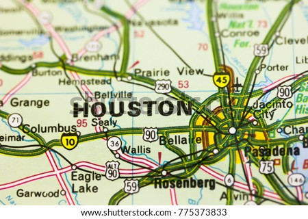 Houston City On Map Usa Stock Photo Edit Now 775373833 Shutterstock
