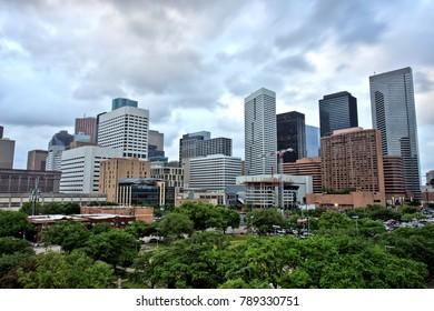 Houston Downtown Skyline with Cloudy Sky