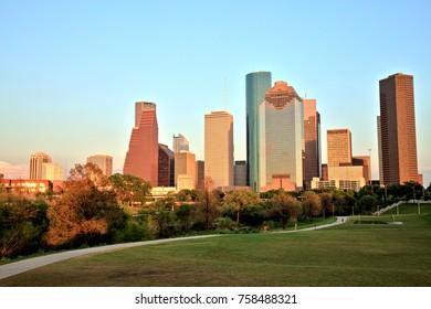 Houston Downtown Skyline Illuminated at Sunset