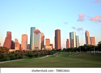 Houston Downtown Skyline at Sunset