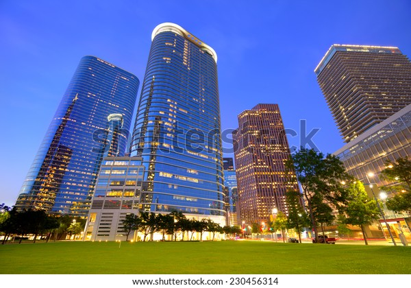 Houston Downtown skyline sunset modern skyscrapers at Texas US USA