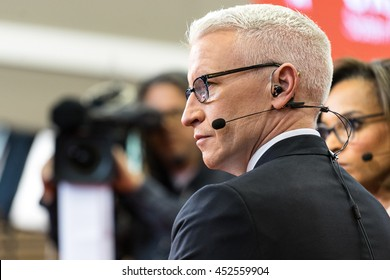 HOUSTON - FEBRUARY 25, 2016: Anderson Cooper sits on the set for a interview with Donald Trump after the RNC debate.