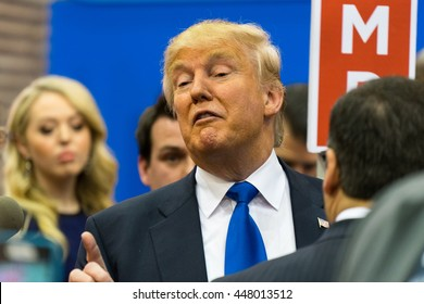 HOUSTON - FEBRUARY 25, 2016: Donald Trump speaks to the media after the Republican National Committee debate.