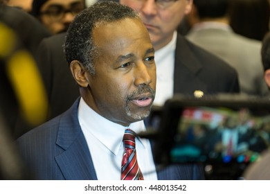 HOUSTON - FEBRUARY 25, 2016: Dr. Ben Carson speaks to the media after the Republican National Committee debate.