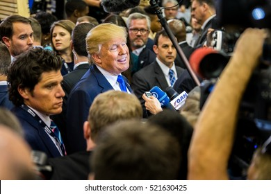 HOUSTON - FEBRUARY 25, 2016: President Donald Trump talks to the media at a public press event following the RNC debate in Houston, Texas.