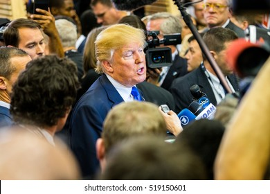 HOUSTON - FEBRUARY 25, 2016: President-elect Donald Trump talks to the media at a public press event after the Republican National Debate in Houston, Texas.