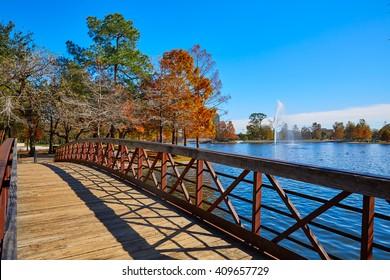 Houston Hermann park conservancy Mcgovern lake at autumn in Texas
