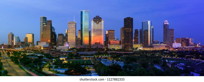 Houston July 4th 2018 Sunset Skyline