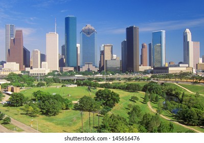 Houston skyline in the afternoon with Memorial Park in foreground in Texas
