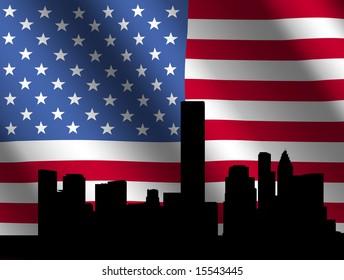 Houston skyline against rippled American Flag illustration