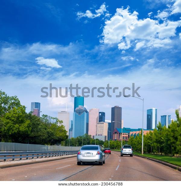 Houston skyline from Buffalo Bayou Pkwy Texas US USA