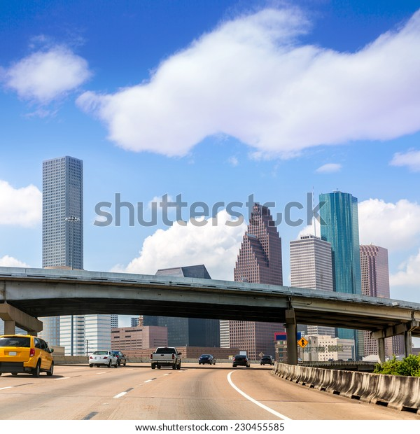 Houston skyline from Gulf Freeway I 45 interstate traffic at Texas US USA