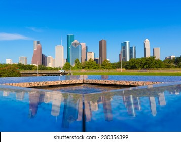 Houston skyline and Memorial reflection Texas USA US