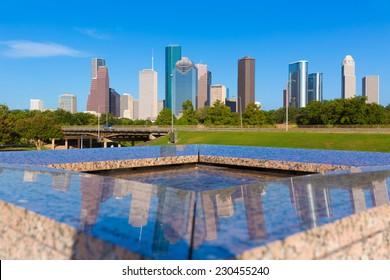 Houston skyline and Memorial reflection Texas USA US