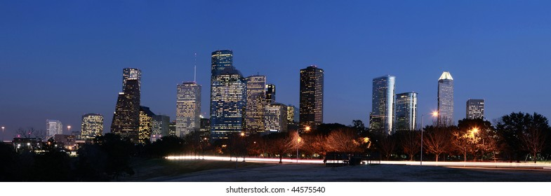 Houston Skyline at Night with Allen Parkway in the foreground
