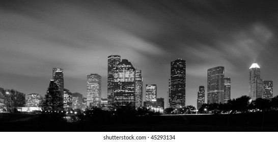 Houston Skyline at night in Black and White