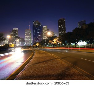 Houston skyline at night. Taken from Allen parkway bridge.