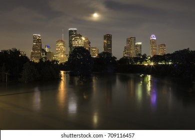 Houston Skyline reflections in the flooded Buffalo Bayou - 4 September 2017