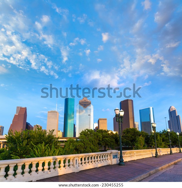 Houston skyline from Sabine St bridge Texas USA US America