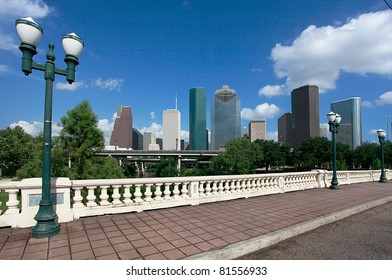 Houston skyline as seen from the Sabine Street Bridge
