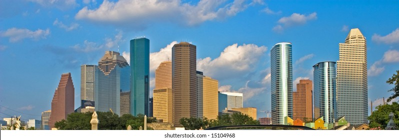 Houston skyline under blue sky