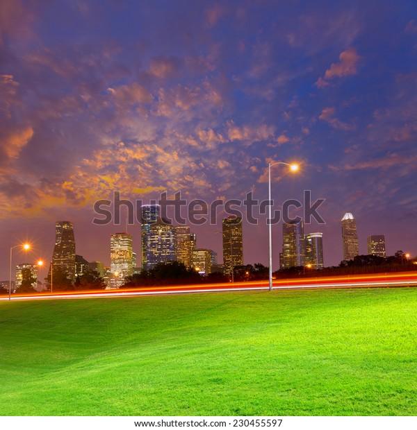 Houston sunset skyline from Memorial park at Texas US