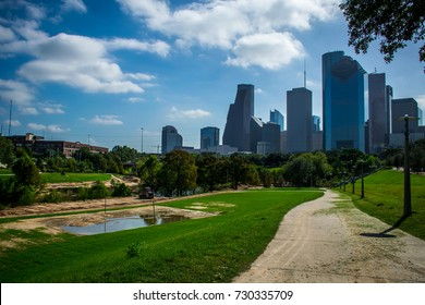 Houston , Texas after Hurricane Harvey month after the Storm and Historical Flooding the Buffalo River Bayou is still draining water and has standing ponds of water still. On a Nice day