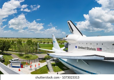 HOUSTON, TEXAS - AUGUST 17, 2017 The space shuttle at Independence Plaza in Space Center Houston, Texas