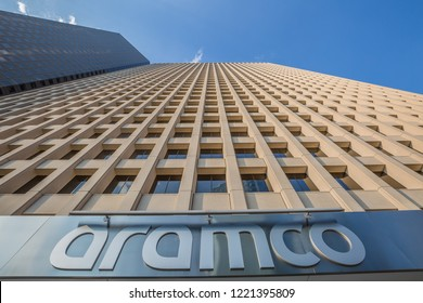 HOUSTON, TEXAS - August, 2018: Close up of Aramco Services Company building in Houston, Texas, USA