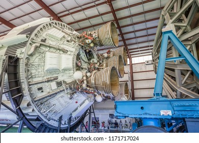 HOUSTON, TEXAS - August, 2018: inside hangar with SATURN V Rocket in Space Center - The Lyndon B. Johnson Space Center (JSC) in Houston, Texas. close up of Rocket detail: second stage engine