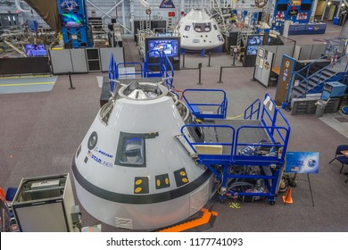 HOUSTON, TEXAS - August, 2018: inside Space training center in The Lyndon B. Johnson Space Center (JSC) in Houston, Texas. close up of Boeing Starliner.