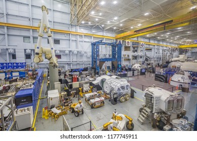 HOUSTON, TEXAS - August, 2018: inside Space shuttle factory at the Space Museum in The Lyndon B. Johnson Space Center (JSC) in Houston, Texas.
