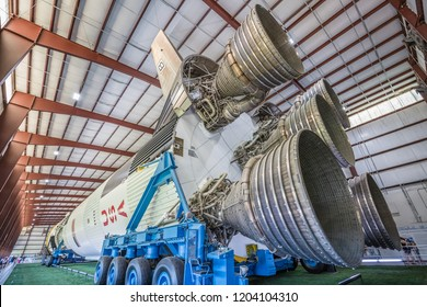 HOUSTON, TEXAS - August, 2018: inside hangar with SATURN V Rocket in Space Center - The Lyndon B. Johnson Space Center (JSC) in Houston, Texas. close up of Rocket detail; first stage engine.
