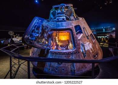 HOUSTON, TEXAS - August, 2018: inside  The Lyndon B. Johnson Space Center (JSC) in Starship gallery in Houston, Texas. close up of  Apollo 17 command module.