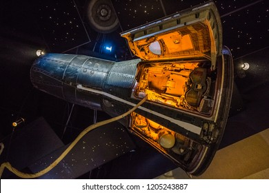 HOUSTON, TEXAS - August, 2018: inside Starship gallery in The Lyndon B. Johnson Space Center (JSC) in Houston, Texas. close up of Gemini V capsule and astronaut costume.