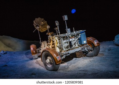 HOUSTON, TEXAS - August, 2018: inside Starship gallery in The Lyndon B. Johnson Space Center (JSC) in Houston, Texas. close up of Lunar Roving Vehicle Trainer.